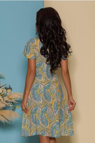 Rochie Diana galbena cu imprimeuri bleu