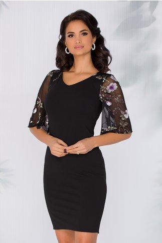 Rochie Diana neagra cu imprimeu floral mov la maneci