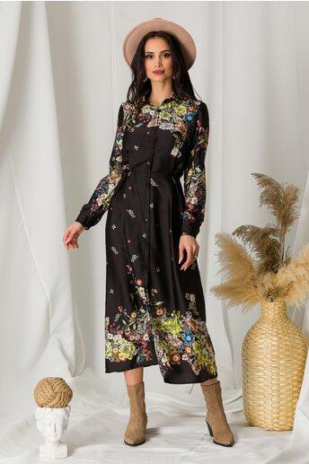 Rochie Diana neagra din satin cu imprimeu floral