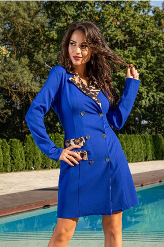 Rochie Dianne albastra cu guler animal print