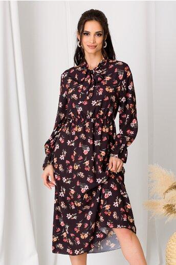 Rochie Dianne neagra cu imprimeuri florale corai