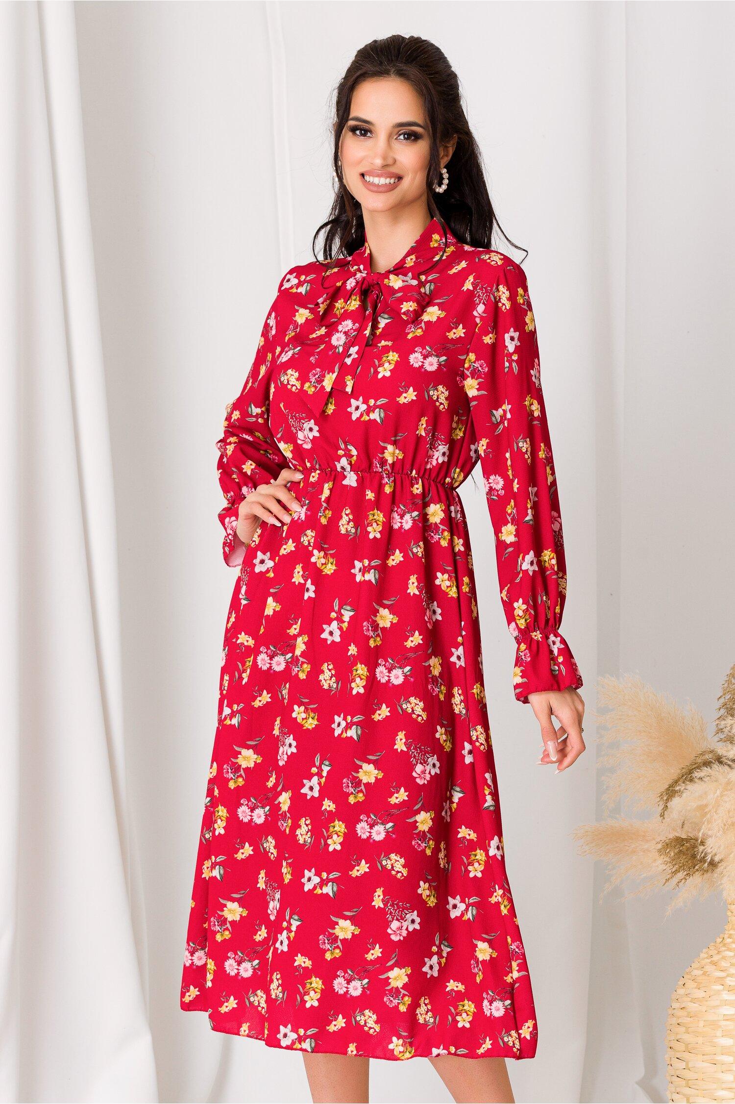 Rochie Dianne rosie cu imprimeuri florale roz si galbene