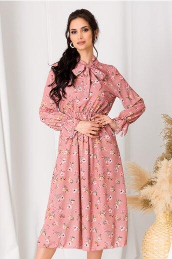 Rochie Dianne roz cu imprimeuri florale