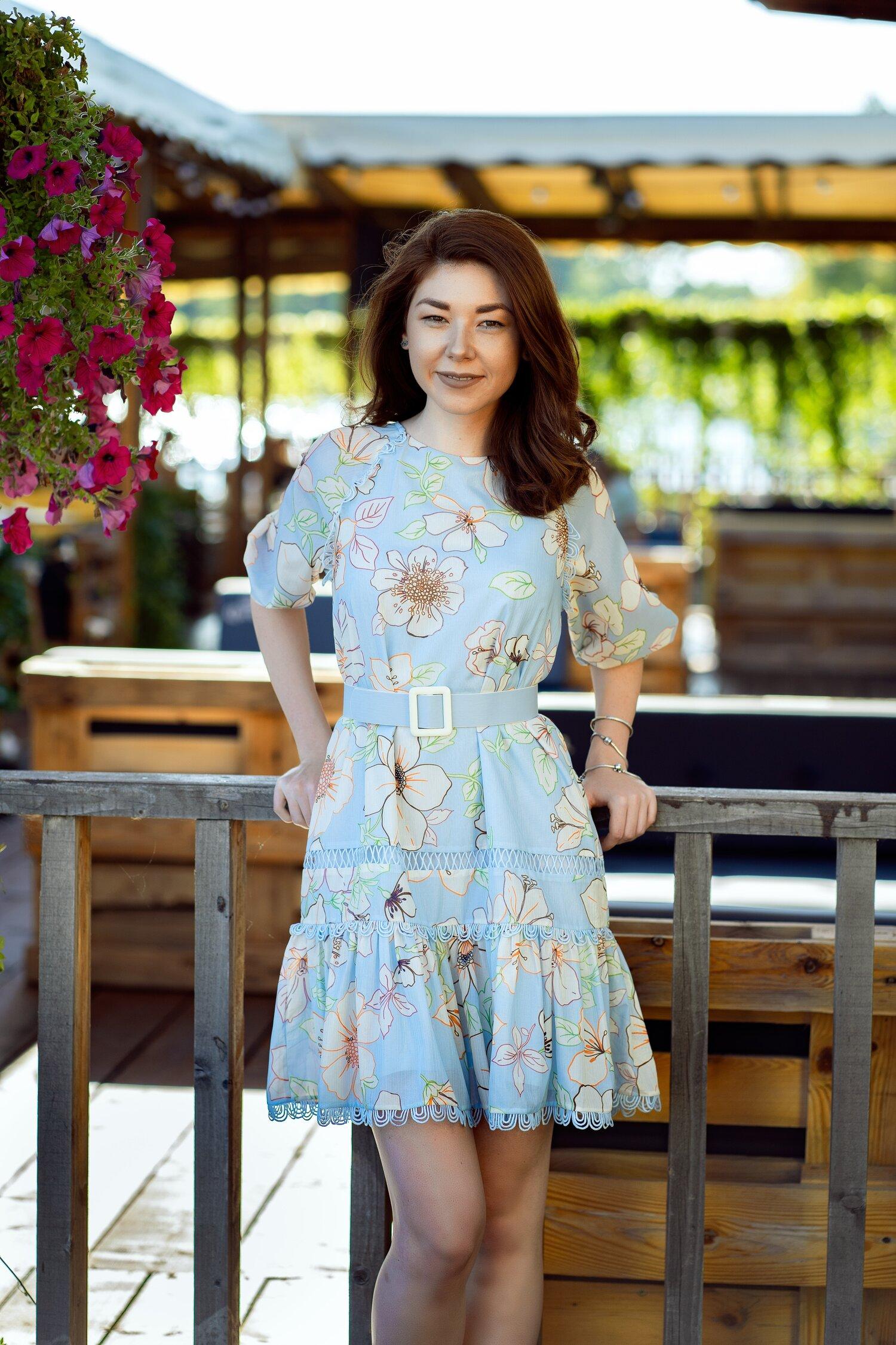 Rochie Dima bleu cu imprimeuri florale