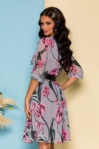 Rochie Dima gri cu imprimeuri florale roz