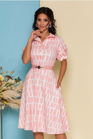 Rochie Dima roz cu imprimeuri geometrice albe