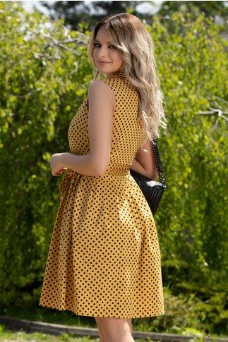 Rochie Dina galben mustar cu buline negre
