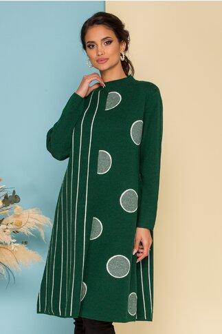 Rochie Dina verde cu dungi si buline maxi
