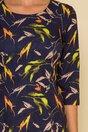 Rochie Disha bleumarin cu imprimeuri tomnatice