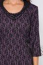Rochie Doina lila cu dantela neagra si aplicatie la guler