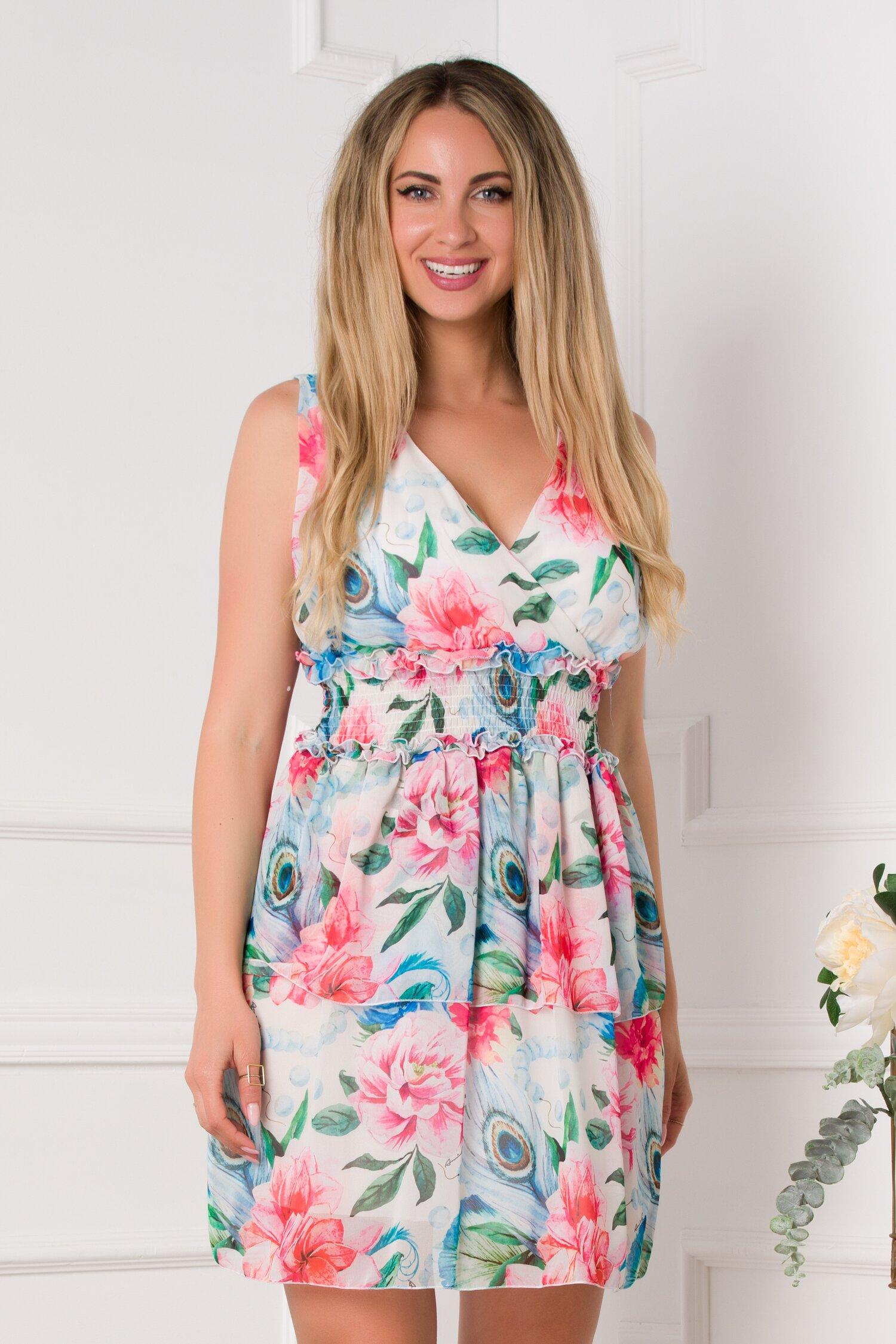 rochie dollie ivoire cu imprimeu floral in nuante de albastru si roz 531357 4