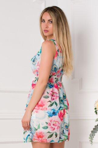 Rochie Dollie ivoire cu imprimeu floral in nuante de albastru si roz