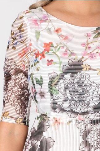 Rochie Dolly alba din organza cu striatii si imprimeu floral