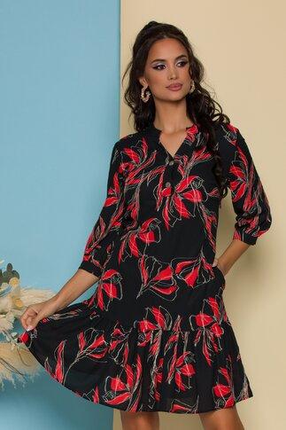Rochie Dolly neagra cu imprimeuri florale rosii