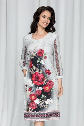Rochie Dora bej cu imprimeu floral