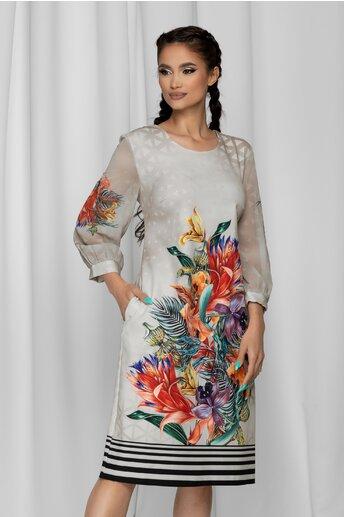 Rochie Dora bej cu imprimeu floral colorat