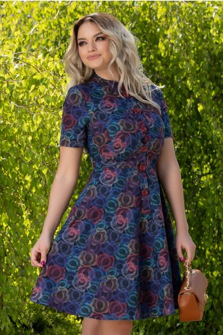 Rochie Dora cu imprimeuri abstracte multicolore si nasturi