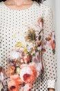 Rochie Dora ivory cu buline si flori