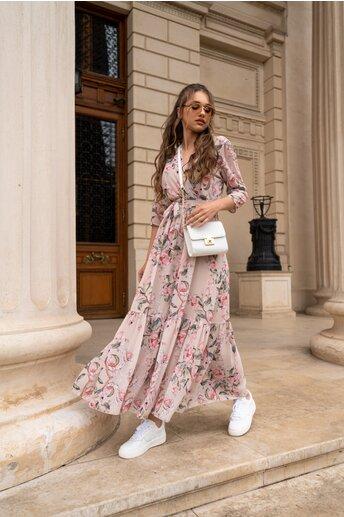 Rochie Dora lunga bej cu flori roz