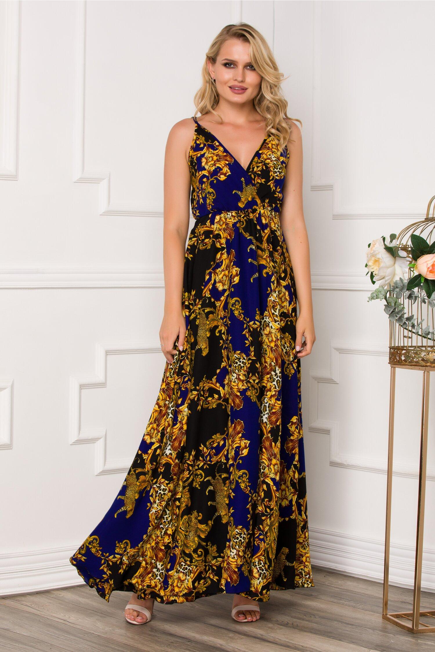 Rochie Dora lunga cu imprimeu divers auriu si insertii albastre