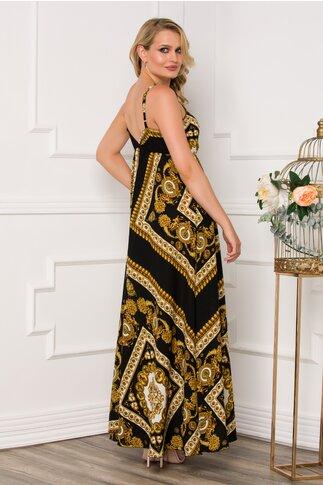 Rochie Dora lunga neagra cu imprimeu vintage auriu