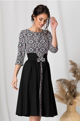 Rochie Dora neagra cu imprimeuri pe bust si fusta