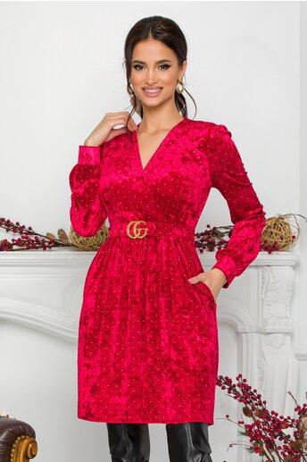 Rochie Dora rosie din catifea cu insertii aurii
