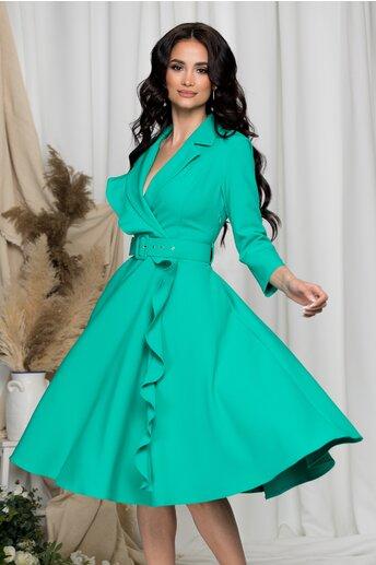 Rochie Dora verde cu aspect petrecut si volan
