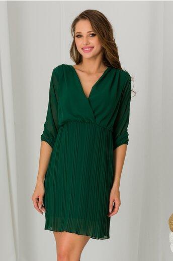Rochie Dora verde cu decolteu petrecut si fusta plisata