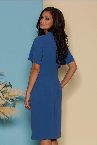 Rochie Dori albastra cu insertii metalice