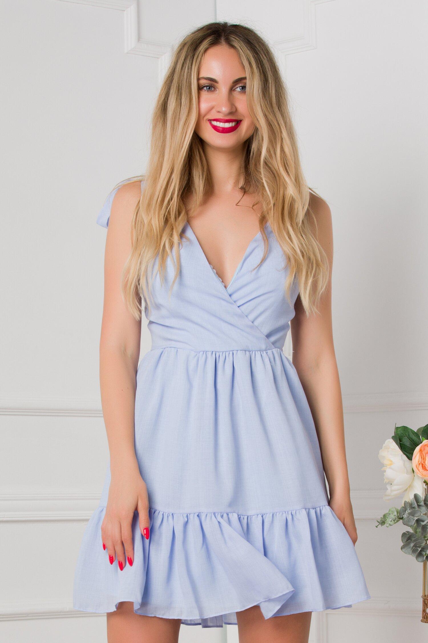 rochie dori bleu lejera cu volan la baza 533106 4