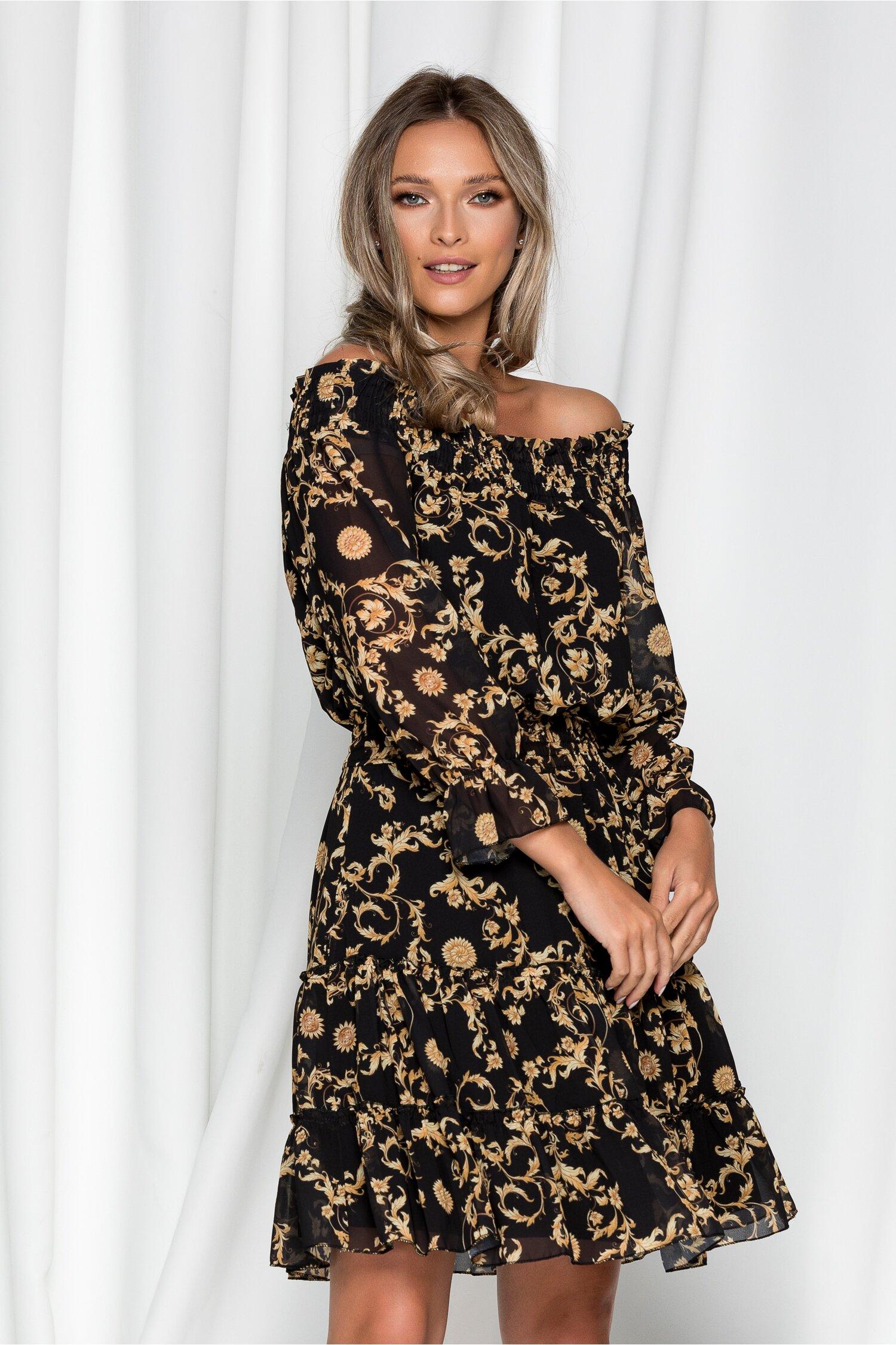 Rochie Dori neagra cu imprimeuri galbene si elastic in talie si la decolteu