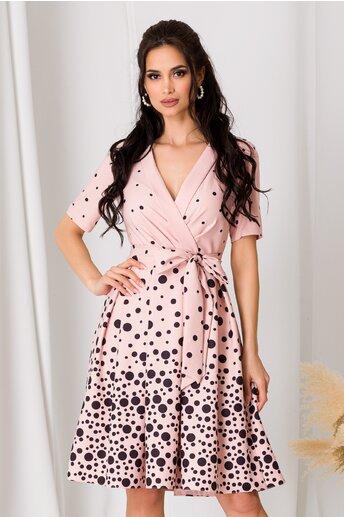 Rochie Dori roz pal cu buline negre