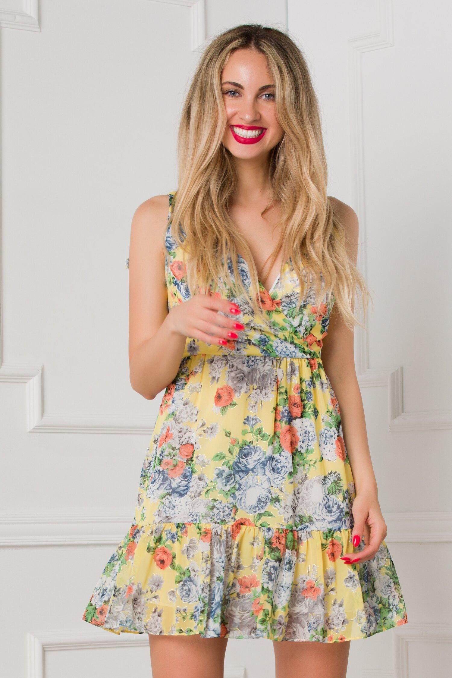 rochie dori vaporoasa galbena cu trandafiri colorati 533121 4