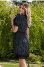 Rochie Dorina bleumarin cu buline si volanase la bust