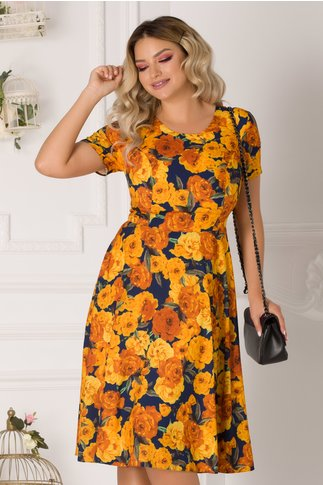 Rochie Dorina bleumarin cu trandafiri galbeni
