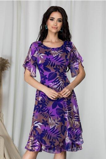 Rochie Dorina mov cu imprimeu floral