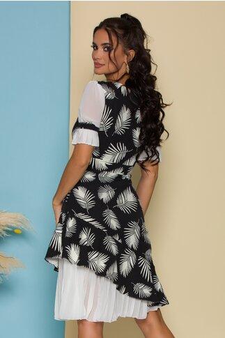 Rochie Dorina neagra cu imprimeuri albe si volanase plisate