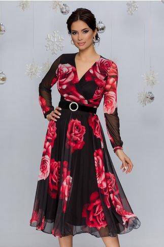Rochie Dorina neagra din tull cu trandafiri rosii