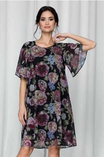Rochie Dorina vaporoasa neagra cu imprimeu floral roses