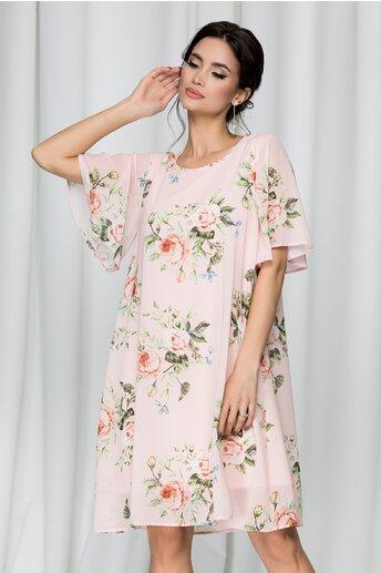 Rochie Dorina vaporoasa roz pal cu trandafiri