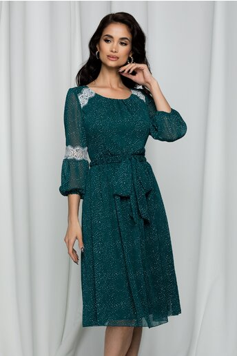 Rochie Dorina verde cu picatele accesorizata cu dantela alba