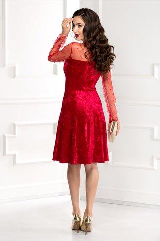 Rochie Doris rosie din catifea cu reflexe si perle