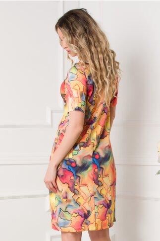 Rochie Dory orange cu imprimeuri diverse colorate