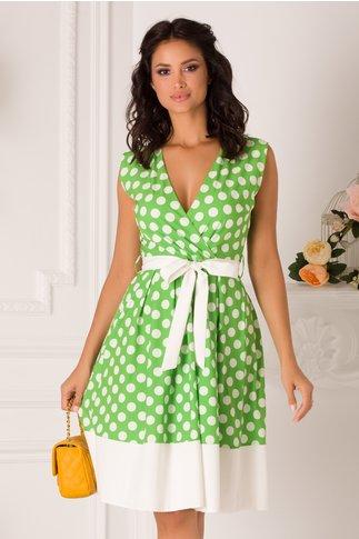 Rochie Dots clos verde cu buline albe
