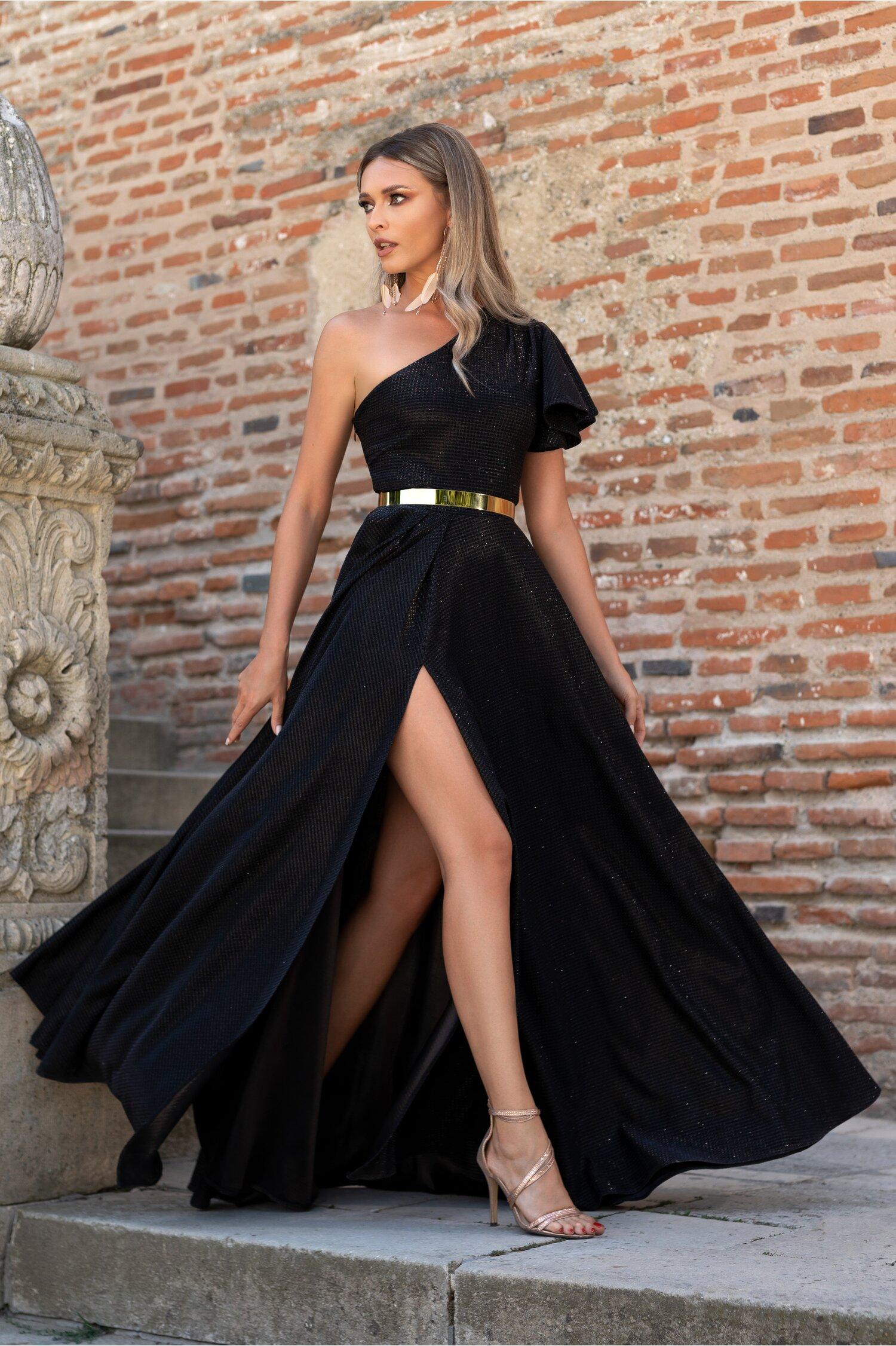 Rochie Dy Fashion Britney neagra cu lurex