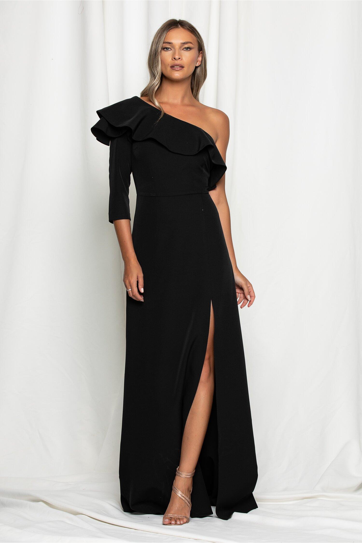 Rochie DY Fashion Daria neagra cu decolteu asimetric si volan