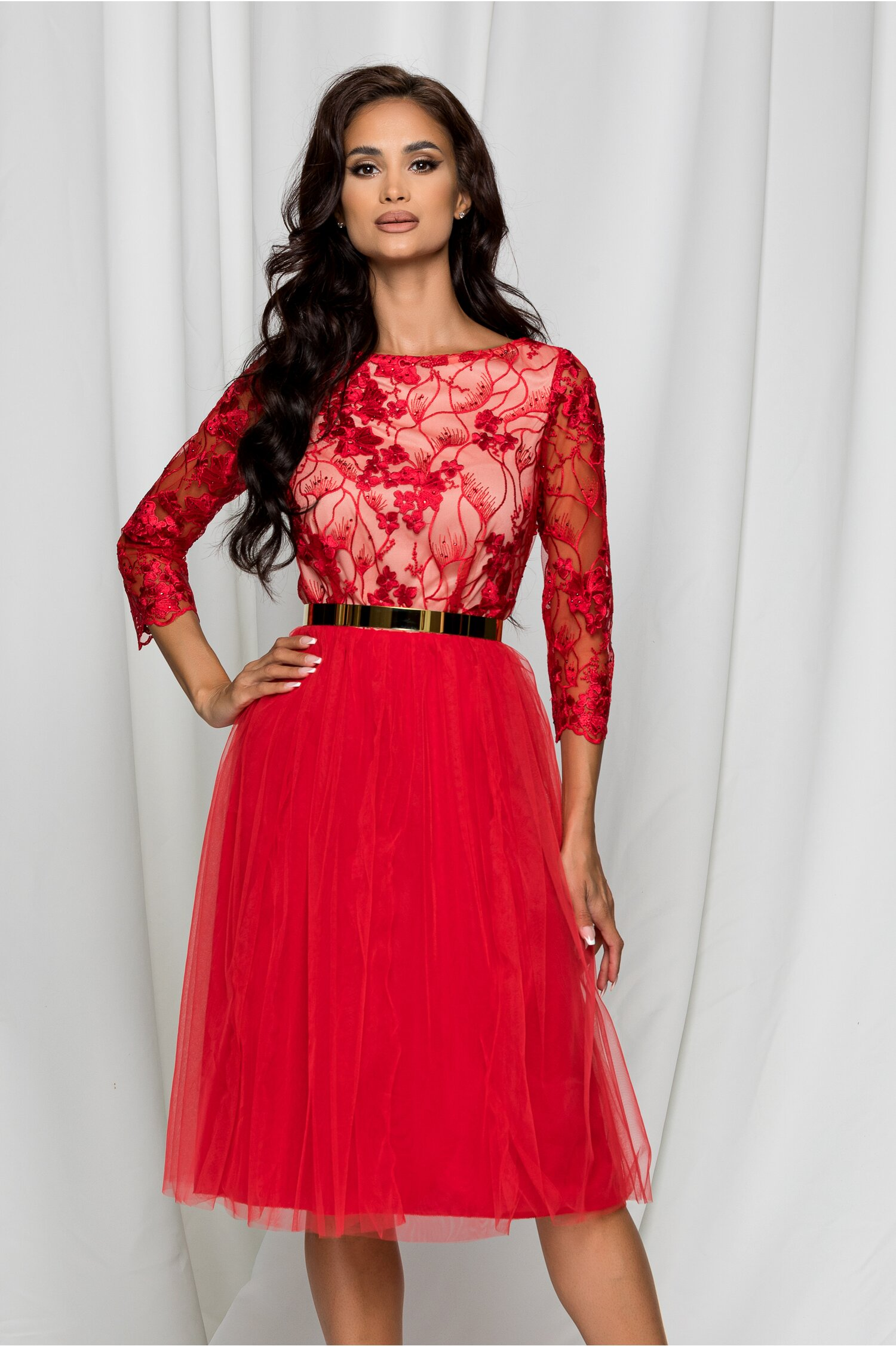 Rochie Dy Fashion Dyana rosie din tulle cu broderie la bust