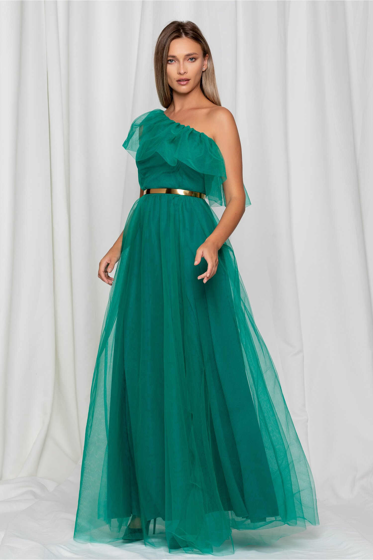 Rochie Dy Fashion Erica verde lunga din tull