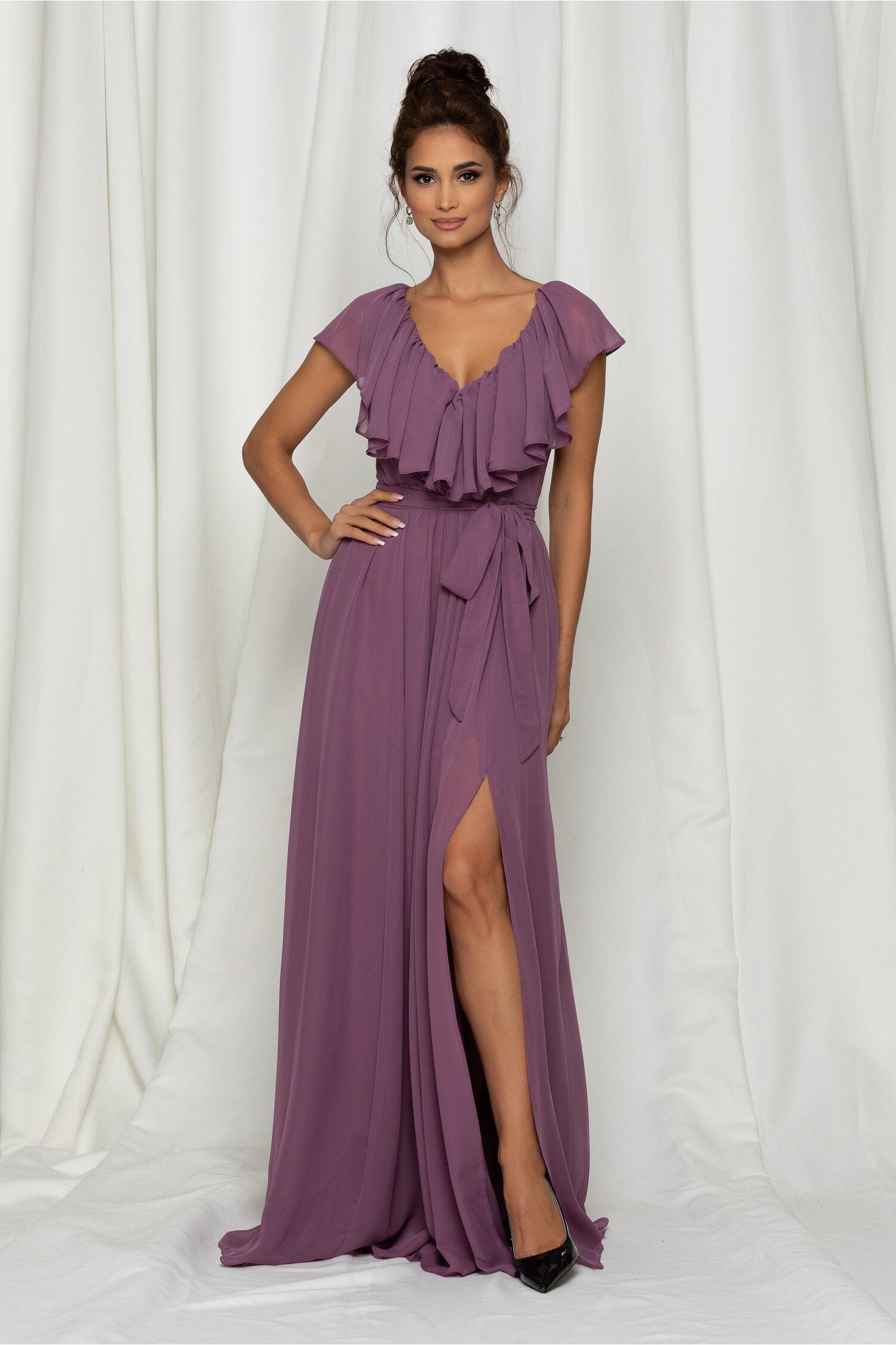 Rochie Dy Fashion Gaby lunga lila din voal cu volanase la decolteu